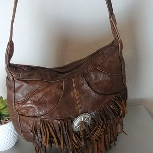 Brown Leather Western Purse